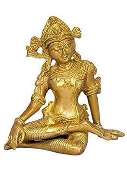 Aone India Sitting God Indra Dev Brass Statue Height-5.75