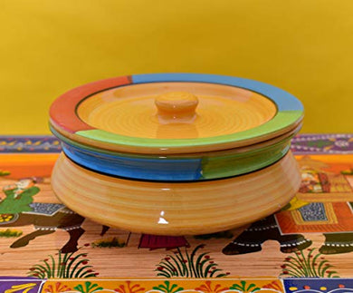 Kunhar Yellow Ceramic Donga with Lid, 650 ml