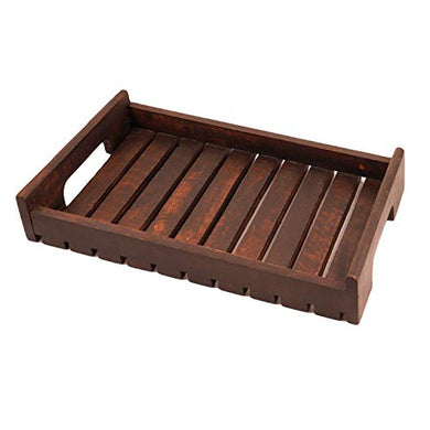 Lasaki Wooden Tray with Handle - Handmade high Wood Tray Platters for Kitchen Serving Tray