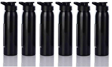 Flux Plastic Water Bottle, 800ml, Set of 6, Black