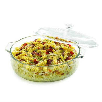 holokai Glass Casserole Deep Round - Oven and Microwave Safe Serving Bowl with Glass Lid 1000 ML