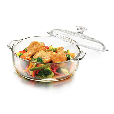 ARUZEN Glass Casserole Deep Round - (1 LTR) Oven and Microwave Safe Serving Bowl with Glass Lid Set of (1)