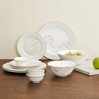 Home Centre Altius Printed Dinner Plate -Set of 14 Pcs - Beige