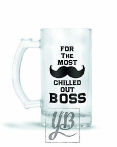 YuBingo Designer Frosted Glass Beer Mug (Most Chilled Out Boss) - Home Decor Lo