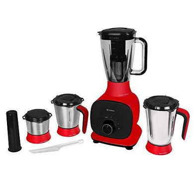 Faber 800W Juicer Mixer Grinder with 3 Stainless Steel Jar+ 1 Fruit Filter (FMG Candy 800 3J+1 Pc), Mystic Red