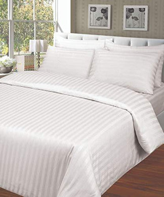ARiANA Premium Stripe Collection 300 TC 100% Cotton King Size (108 inch X 108 inch) Bedsheet with 2 Pillow Covers (White)