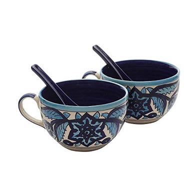 Miah Decor Md-320 Ceramic Handcrafted Double Glazed Rich Moroccan Soup Bowls with Spoon Set, Pack of 2, Multi-Color