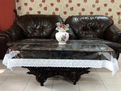 Kuber Industries™ .20 mm Transparent Center Table Cover 4 Seater 40 * 60 Inches (White Lace) DTC09
