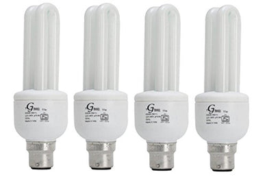 Glean CFL 2 Tube Compact Fluorescent Lights (White, 11 W) - Pack of 4 Bulbs