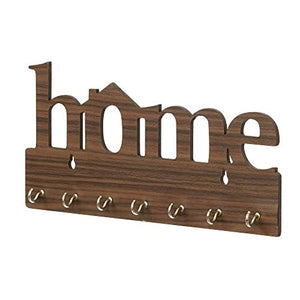 "Webelkart Premium ""Home"" Keys Wooden Key Holder (29 cm x 13.5 cm x 0.4 cm, Brown)- 7 Hooks"