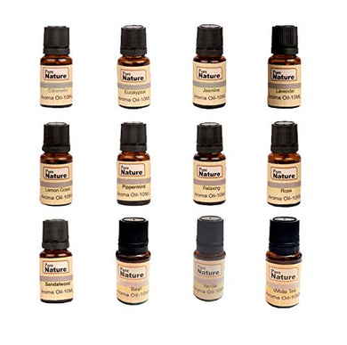 Pure Source India 12 In One aroma oil pack (Lemon Grass, Lavender, Jasmine, Rose, Citronella, Eucalyptus, Peppermint,Sandal Wood, Relaxing,Vanilla,White Tea & Basil 10 ML each)