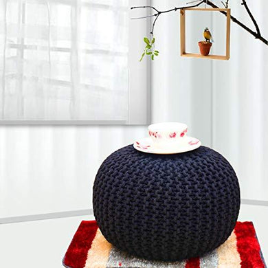 Hand Knitted Cotton Dori Comfort Ottoman Pouffe - Home Decor Lo