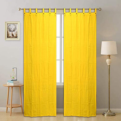 RAKSHA Cotton Loop Door Curtain, 7 Feet (46 Inch X 84 Inch), Plain Yellow, Pack of 2