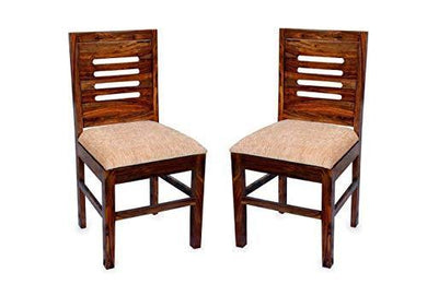 DIA Chitra Furniture Wooden Dining Chair for Home & Living Room| Study Chair for Home with Cushion | Set of 2 | Sheesham Wood, Natural Brown