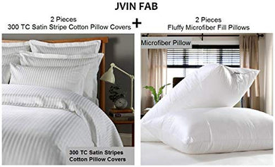 Jvin Fab Ultra Soft Bed Pillow Set, Down Alternative Micro Fiber Fill Pillows 2 pcs with 100% Cotton 2 pcs Pillow Covers (20