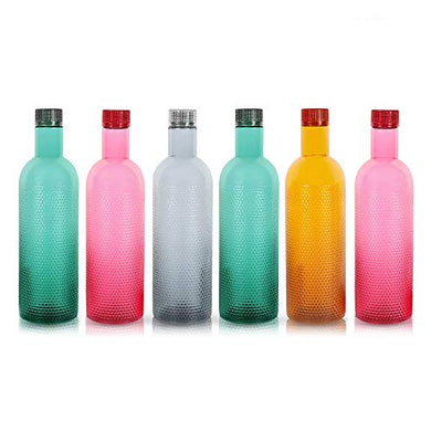 MUCH-MORE 6 Plastic Fridge Bottles Set 1 Liter Turtle Design with Complimentary Knife (Multicolor WB-08)