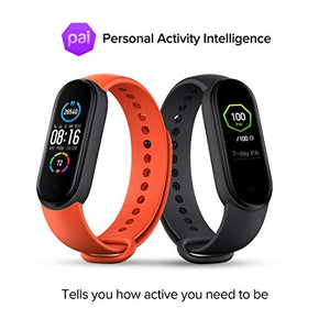 Mi Smart Band 5 – India's No. 1 Fitness Band, 1.1-inch AMOLED Color Display, Magnetic Charging, 2 Weeks Battery Life, Personal Activity Intelligence (PAI), Women's Health Tracking