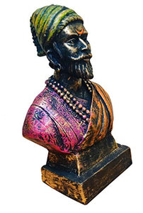 Karigaari India Handcrafted Polyresin The Great Maratha Warrior-King ChhatraPati Shivaji Maharaj Sculpture | Showpiece for Decoration Items for Home - Special Shiv Jayanti Gift Purpose.