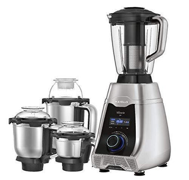 Havells Silencio 4 Jar Mixer Grinder with 5 Patented Technology,HVDC low noise motor,Double Layer Steel Jar,Digital Display with Pre-Set Options,Triple Safety Protection and 2 Litre Jar-Grey Black