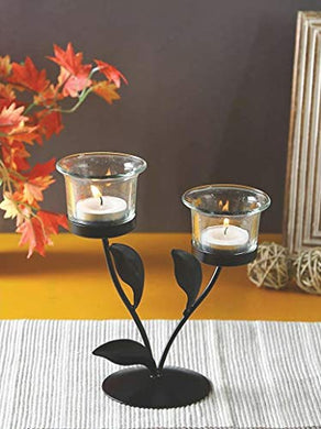AS India Tealight Candle Holder Metal Wall Sconce with Glass Cups and Tealight Candles for Christmas Lights for Home Decoration(Size: 19x19 cm)