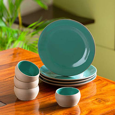 ExclusiveLane 'Earthen Turquoise' Hand Glazed Ceramic Plates For Dinner Plates With Katoris (8 Pieces, Serving for 4, Microwave Safe)- Dinner Serving Set For Kitchen Plate And Bowl Sets Dinnerware Set