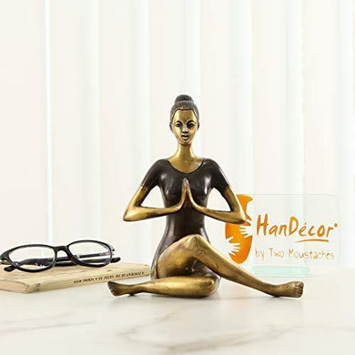 Two Moustaches Namaste Yoga Instructions Sitting Lady Sculpture Brass Showpiece - Home Decor Lo