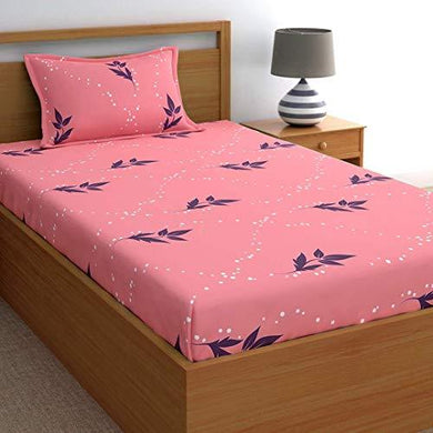 Home Ecstasy 100% Cotton bedsheets for Single Bed Cotton, 140tc Floral Pink Single bedsheet with Pillow Cover (4.8ft x 7.3ft) - Home Decor Lo