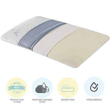 The White Willow Orthopedic Memory Foam Ultra Slim Sleeping Bed Pillow Designed for Back, Stomach and Side Sleeper with Removable Cover (24