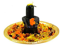 Load image into Gallery viewer, Amazing India Online Shaligram Shiva Ling Lingam Statue Hindu Puja Brass Plate with Decorative Pooja Thali Shivling Marble Stone Snake Trishul Set Home Decore Religious Spiritual Temple