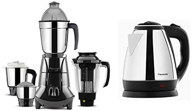 Butterfly EKN 1.5-Litre Water Kettle (Silver with Black) & Jet Elite 750-Watt Mixer Grinder with 4 Jars (Grey) Combo