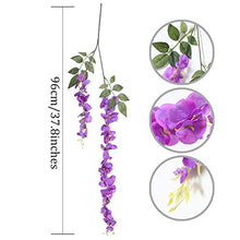 Load image into Gallery viewer, Artificial Silk Wisteria Vine Rattan Garland Fake Hanging Flower Party Home Garden Outdoor Ceremony Floral Decor,3.18 Feet, 6 Pieces (Purpule-2)