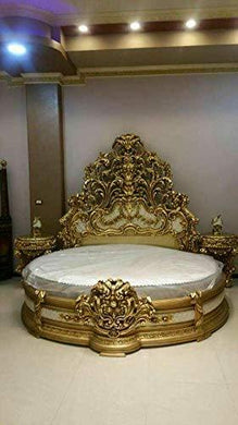 Classic Wood & Craft Wooden Craving Bed (Round Shaped) Teak Wood with Luxury Carving Work and Beautiful interiors for Royal Bedrooms/sharanpur (Golden Polish)