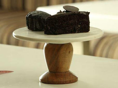 Organic Home Hand Made Marble and Wood Half KG Cake Stand with Platter - Home Decor Lo