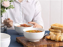 Load image into Gallery viewer, Narrow International Dessert Set of 6 Melamine Unbreakable Cereal Bowls Set 6 Inch - Soup Bowls, Lightweight Deep Bowl for Kitchen and Family Dinner, Maggi,Soup, Dishwasher Micro Safe, Premium White