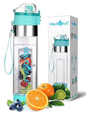 Aquafrut Bottle BPA-Free Tritan Plastic Leak Proof Loading Fruit Infuser Water Bottle with One Click Open Lid with Infusion Recipe eBook, 24 oz, Teal