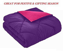Load image into Gallery viewer, Omoroze Reversible Single Bed Quilt Comforter Blanket -Purple Pink(Soft Microfiber)
