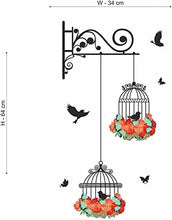 Load image into Gallery viewer, Decals Design Wall Sticker 'Hanging Birds Cage With Flowers'