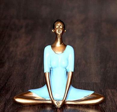 Craft Junction Handpainted Lady in Yoga Position Decorative Decorative Showpiece - 17.7 cm (Polyresin, Multicolor) - Home Decor Lo