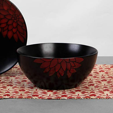 Home Centre Dahlia Stoneware Bowl - Black
