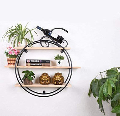 INDIAN DECOR . 29955 Warm Small Home Creative Circular 3 Floors Wall Mounted Flower Pot Toy Cup Book Shelves for Bedroom Living Room Cafe Bar , Other Decorations (Size: 40 x 40 cm)