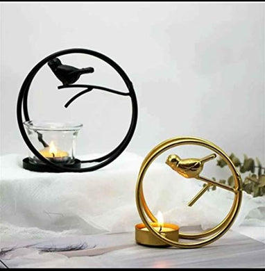 Shopping Club Decorative Bird Round Ring with Glass Table and Wall Tealight Holder, Set of 2,Yellow, Antique Metal Wall Scone Candle Holder