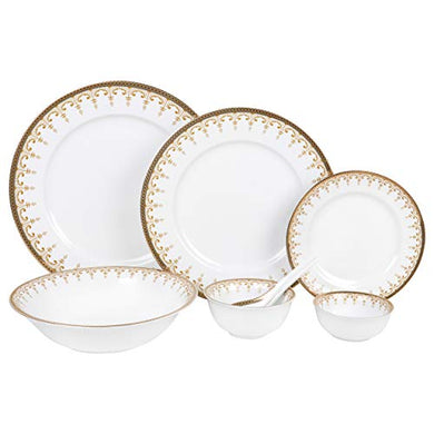 Hitkari Potteries Porcelain Dinnerware Set, 33-Pieces, White (HPC-D252)