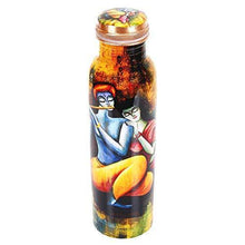 Load image into Gallery viewer, Golden Valley Radha Krishna Printed Pure Copper Water Bottle 1000 ml