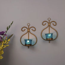 Load image into Gallery viewer, Homesake Metal Decorative Golden Wall Sconce/candle Holder, Pack of 2