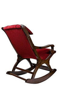 Craftatoz Rocking Chair with Cushioned Back & Seat Handicrafts Rocking Chair Teak Wood Rocking Chair Wooden Rocking Chair for Living Room Home Decor - Home Decor Lo