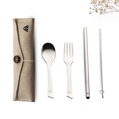 Minimo Rusabl (Earlier) Steelery Reusable Stainless Steel Cutlery Set. Ideal for Daily use, Gifting and Traveling (Contains : Spoon, Fork,Straw and Cleaner, Napkin, Jute Pouch) (Beige, Spoon + Fork)