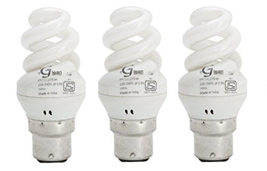 Made in India - 5 Watt - CFL Mini Spiral (Compact Fluorescent Light) - Pack of 3 Bulbs - ISO 9001 2008 certified - Glean Lights