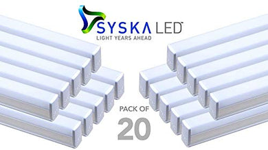 Syska SSK-T5-20W-N-6500K 20 Watt LED Cool Day Light Tubelight , Medium, White - Pack of 20