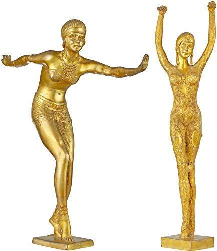Exotic India Two Young Ladies Practising Yoga - Brass Statue - Home Decor Lo