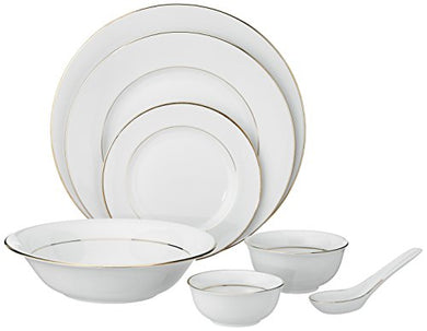 Hitkari Potteries Porcelain Dinner Set, 33-Pieces, White (HPC33-2MM GL-16226)